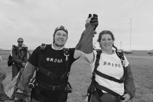 Allan and Emily Wood were married in the air before sky diving to celebrate their wedding.  Courtesy Allan Wood