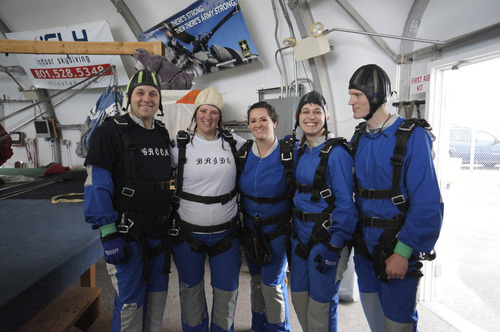 Allan and Emily Wood joined wedding party Holly Lozano, Liz Oliphant and Nephi Wood in a ceremony and then skydive with Skydive Utah at the Tooele County Airport.  Courtesy Allan Wood