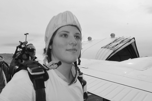 Emily Wood gets ready to board plane for wedding and skydive.  Courtesy Allan Wood