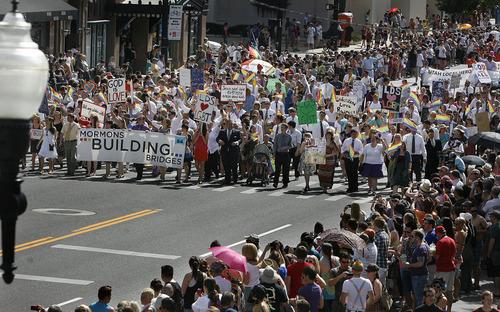 Scott Sommerdorf     The Salt Lake Tribune              Mormons Building Bridges group takes part in the annual Gay Pride Parade through downtown Salt Lake City, Sunday, June 3, 2012.