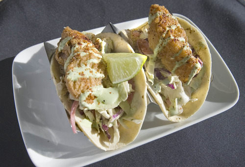 Paul Fraughton  |  The Salt Lake Tribune Taqueria 27's fresh fish of the day tacos.
