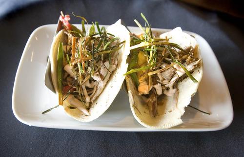 Paul Fraughton  |  The Salt Lake Tribune An order of Duck Confit Tacos at Taqueria 27.