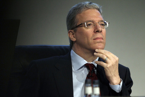 FILE PHOTO: Tom Albanese, chief executive officer of Rio Tinto Group, pauses ahead of the company's annual general meeting (AGM) at the Queen Elizabeth II conference centre in London, U.K., on Thursday, April 19, 2012. Rio Tinto Group said Albanese will step down, after announcing a surprise $14 billion impairment. Sam Walsh, head of the iron-ore division, has been appointed as his successor with effect from today, the company said in a statement. Photographer: Matthew Lloyd/Bloomberg  *** Local Caption *** Tom Albanese