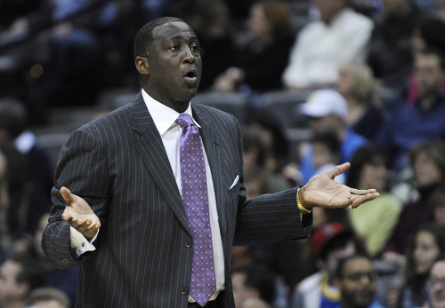 Utah Jazz head coach Tyrone Corbin reacts to a call during the first quarter of an NBA basketball game against the Denver Nuggets, Saturday, Jan. 5, 2013, in Denver. (AP Photo/Jack Dempsey)