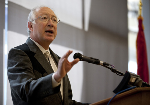 Secretary of the Interior Ken Salazar answers a question during a news conference on Tuesday, March 22, 2011, in Cheyenne, Wyo. Salazar is making a vast amount of coal available for mining in Wyoming's Powder River Basin, saying the substance will remain an important source of the nation's energy supply.  The coal leases Salazar announced Tuesday in Cheyenne amount to 750 million tons and will take several years to mine.  (AP Photo/Wyoming Tribune-Eagle, James Brosher)