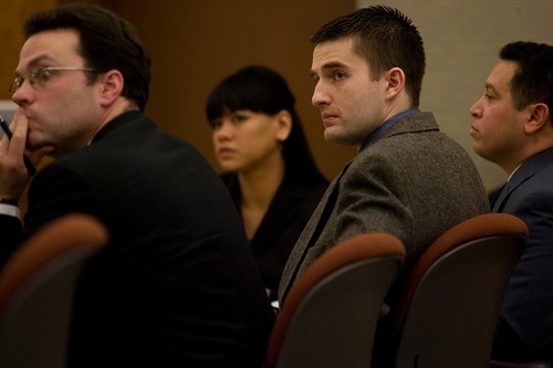 Martin Bond listens to proceedings during day two of his trial at the Fourth Judicial District Court in American Fork Thursday, Jan. 17, 2013. Bond is accused of killing former BYU professor Kay Mortensen in November 2009.  MARK JOHNSTON/Daily Herald