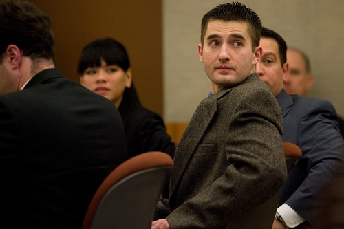 Martin Bond sits with his attorneys during day two of his trial at the Fourth Judicial District Court in American Fork Thursday, Jan. 17, 2013. Bond is accused of killing former BYU professor Kay Mortensen in November 2009.  MARK JOHNSTON/Daily Herald
