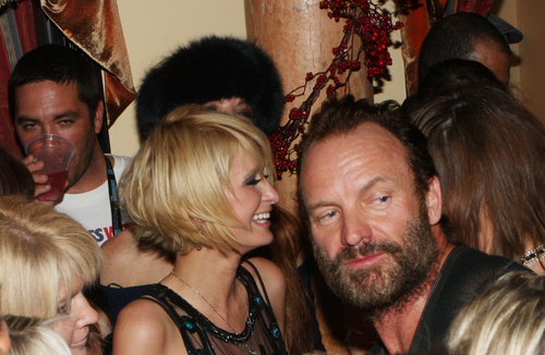 Paris Hilton and Sting attend the Sundance Greenhouse after-party for Crude, Sunday, Jan. 18, 2009 in Park City, Utah. (AP Photo/Shea Walsh)