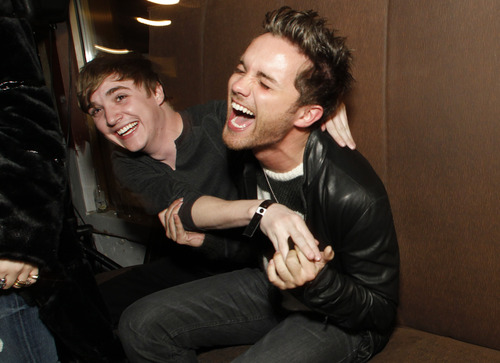 """Honorees Kyle Gallner from the films """"Red State"""" and """"Little Birds"""" and Thomas Dekker from the film """"Kaboom"""" joke around with each other at a party honoring """"7 Fresh Faces in Film"""" during the 2011 Sundance Film Festival in Park City, Utah on Friday, Jan. 21, 2011. (AP Photo/Danny Moloshok)"""