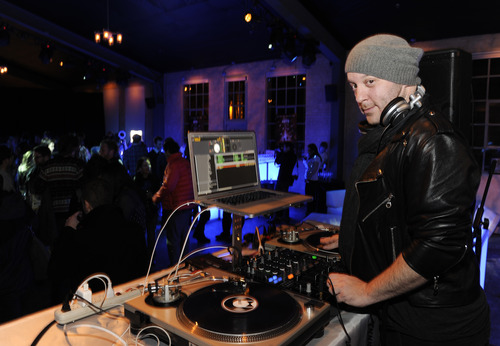 """DJ Adam 12 works the """"Liberal Arts"""" premiere party hosted by Chase Sapphire at the 2012 Sundance Film Festival on Sunday, Jan. 22, 2012 in Park City, Utah. (Photo: Evan Agostini for Chase Sapphire)"""