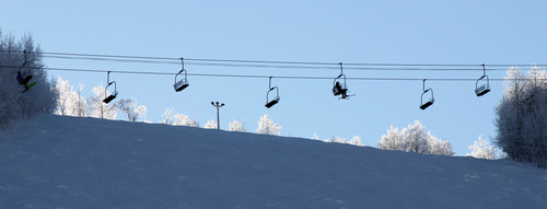 Francisco Kjolseth  |  The Salt Lake Tribune Skiers ride the Town Lift at Park City Mountain Resort on the last day of 2012 on a clear and chilly morning that started out in the near single digits.
