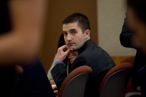 Mark Johnston     Daily Herald Martin Bond turns to look at his ex-wife, Rachel Bingham, who testified on day one of Bond's trial in 4th District Court in American Fork Wednesday, Jan. 16, 2013. On Friday a jury convicted Bond of killing former BYU professor Kay Mortensen in November 2009.