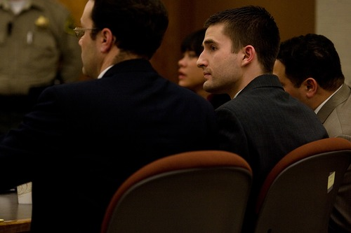 Mark Johnston     Daily Herald Martin Bond looks to the jury after being found guilty on all charges Friday in 4th District Court in American Fork Friday, Jan. 18, 2013. Bond was found guilty of killing former BYU professor Kay Mortensen in November 2009.