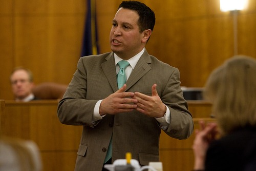 Mark Johnston  |  Daily Herald Defense attorney Rudy Bautista gives his closing remarks to the jury at Martin Bond's trial in 4th District Court in American Fork Friday, Jan. 18, 2013. Bond was found guilty of killing former BYU professor Kay Mortensen in November 2009.