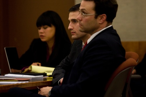 Mark Johnston     Daily Herald Martin Bond listens to prosecutor Tim Taylor give his closing statements to the jury during Bond's trial in 4th District Court in American Fork Friday, Jan. 18, 2013. Bond was convicted of killing former BYU professor Kay Mortensen in November 2009.
