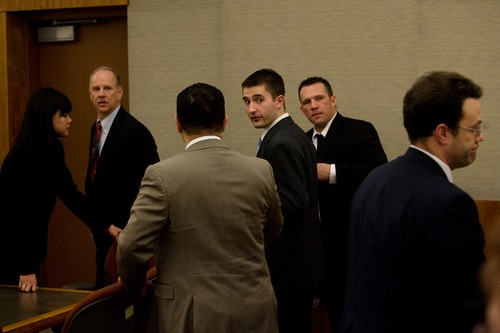 Mark Johnston     Daily Herald Martin Bond is led from the courtroom after being found guilty Friday in 4th District Court in American Fork of killing former BYU professor Kay Mortensen in November 2009.