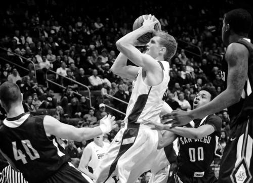 BYU's Tyler Haws goes up for a basket against San Diego during an NCAA college basketball game in Provo, Utah on Saturday, Jan. 19, 2013. (AP Photo/The Daily Herald, James Roh)