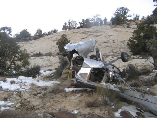 Courtesy Garfield County Sheriff's Office Authorities are investigating a Saturday afternoon plane crash that killed two Escalante men in Garfield County.