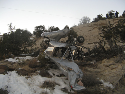 Courtesy of Garfield County Sheriff's Office Authorities are investigating a Saturday afternoon plane crash that killed two Escalante men in Garfield County.