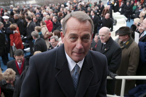 House Speaker John Boehner of Ohio leaves the West Front of the Capitol in Washington, Monday, Jan. 21, 2013, after President Barack Obama's ceremonial swearing-in ceremony during the 57th Presidential Inauguration.  (AP Photo/Win McNamee, Pool)
