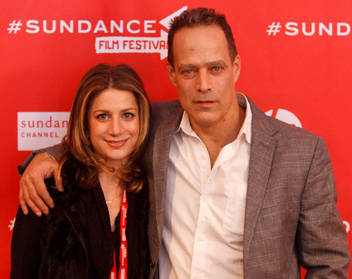 Trent Nelson  |  The Salt Lake Tribune Sara Bernstein and director Sebastian Junger at the Sundance Film Festival premiere of the film Which Way is the Front Line From Here? The Life and Time of Tim Hetherington, Sunday, January 20, 2013 in Park City.