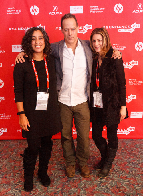 Trent Nelson  |  The Salt Lake Tribune Editor Geeta Gandbhir, director Sebastian Junger and Sara Bernstein at the Sundance Film Festival premiere of the film Which Way is the Front Line From Here? The Life and Time of Tim Hetherington, Sunday, January 20, 2013 in Park City.