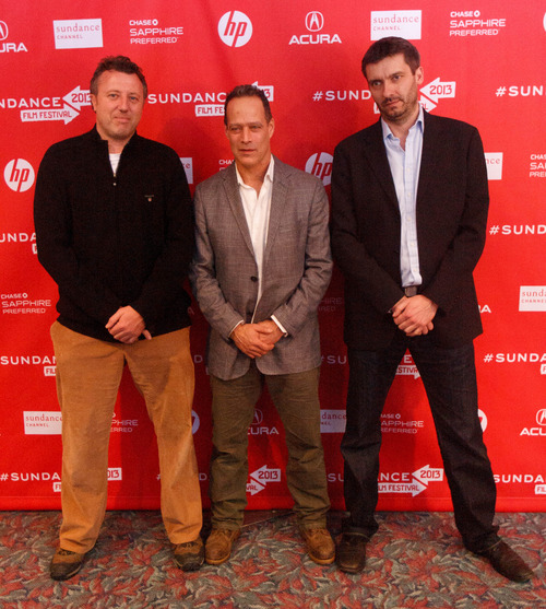 Trent Nelson  |  The Salt Lake Tribune Producer Nick Quested, director Sebastian Junger, and producer James Brabazon at the Sundance Film Festival premiere of the film Which Way is the Front Line From Here? The Life and Time of Tim Hetherington, Sunday, January 20, 2013 in Park City.