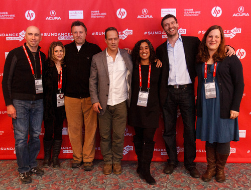 Trent Nelson  |  The Salt Lake Tribune Composer Joel Goodman, Sara Bernstein, producer Nick Quested, director Sebastian Junger, editor Geeta Gandbhir, producer James Brabazon and editor Maya Mumma at the Sundance Film Festival premiere of the film Which Way is the Front Line From Here? The Life and Time of Tim Hetherington, Sunday, January 20, 2013 in Park City.