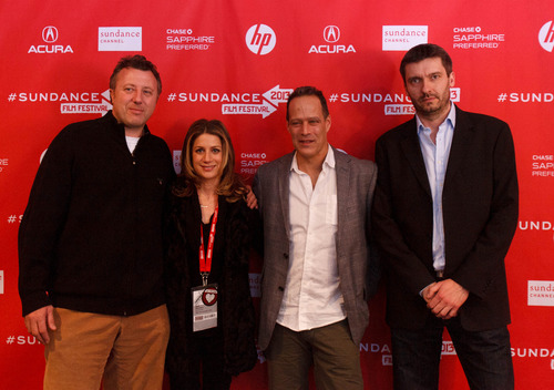 Trent Nelson  |  The Salt Lake Tribune Producer Nick Quested, Sara Bernstein, director Sebastian Junger, and producer James Brabazon at the Sundance Film Festival premiere of the film Which Way is the Front Line From Here? The Life and Time of Tim Hetherington, Sunday, January 20, 2013 in Park City.