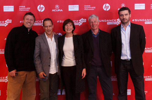Trent Nelson  |  The Salt Lake Tribune Producer Nick Quested, director Sebastian Junger, Judith Hetherington, Alistair Hetherington and producer James Brabazon at the Sundance Film Festival premiere of the film Which Way is the Front Line From Here? The Life and Time of Tim Hetherington, Sunday, January 20, 2013 in Park City.