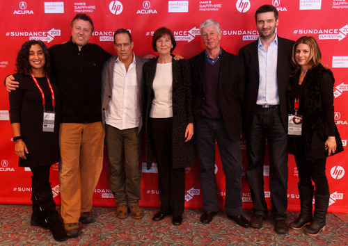 Trent Nelson  |  The Salt Lake Tribune Editor Geeta Gandbhir, producer Nick Quested, director Sebastian Junger, Judith Hetherington, Alistair Hetherington, producer James Brabazon and Sara Bernstein at the Sundance Film Festival premiere of the film Which Way is the Front Line From Here? The Life and Time of Tim Hetherington, Sunday, January 20, 2013 in Park City.