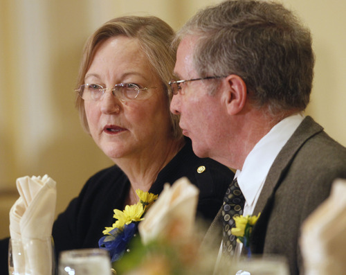 Al Hartmann  |  The Salt Lake Tribune Associate Utah Supreme Court Judge Christine Durham talks with her husband George at the Dr. Martin Luther King Jr. Memorial Luncheon at the Little America Monday January 21.  She was the guest speaker for the luncheon.