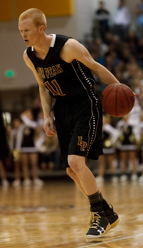 Trent Nelson  |  The Salt Lake Tribune Lone Peak's TJ Haws as Lone Peak faces Orem, high school basketball Saturday December 8, 2012 in Orem.