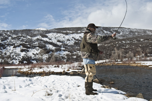 Chris Detrick  |  The Salt Lake Tribune Ron Moore, of West Valley City, fishes along the Provo River Wednesday February 15, 2012. Moore goes fishing about once a week.
