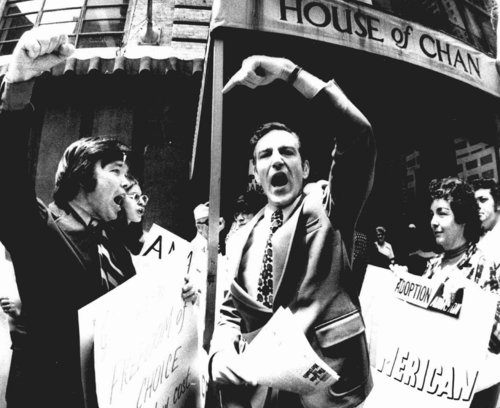 Demonstrators voice differing opinions on the abortion issue outside the Americana Hotel in New York where the American Medical Association held its convention on June 25, 1973. The 25th anniversary of the Supreme Court ruling that legalized abortion in the United States, a decision that has deeply divided Americans, will be marked Jan. 22, 1998. (AP Photo/File)