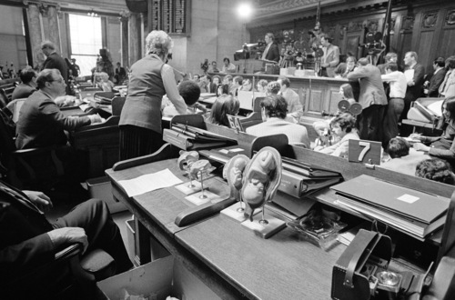 Plastic models of human fetuses are displayed in foreground while Wisconsin Rep. Lloyd Barbee testifies before the Assembly Judiciary Committee at during hearing on abortion bills at the captitol in Madison, April 24, 1973. Barbee is chairman of the committee. (AP Photo)