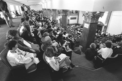 Pro-choice and pro-life advocates watched as lawmakers debated a new abortion law in 1991.  | Tribune FIle Photo