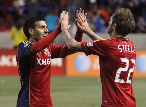 Rick Egan  | The Salt Lake Tribune   Real Salt Lake's Jonny Steele and Javier Morales celebrate after a goal against Toronto FC, in Salt Lake City, in 2012.