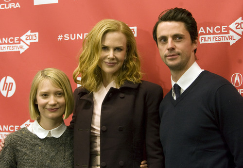 "Kim Raff  |  The Salt Lake Tribune (from left) Actors Mia Wasikowska, Nicole Kidman and Matthew Goode are photographed on the red carpet for the premiere screening of ""Stoker"" at the Eccles Theatre during the Sundance Film Festival in Park City on January 20, 2013."