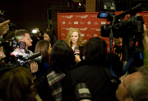 "Kim Raff  |  The Salt Lake Tribune Actress Nicole Kidman gives interviews on the red carpet for the premiere screening of ""Stoker"" at the Eccles Theatre during the Sundance Film Festival in Park City on January 20, 2013."