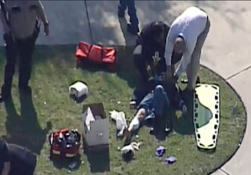 This frame grab provided by KPRC Houston shows the scene at Lone Star College Tuesday, Jan. 22, 2013 where law enforcement officials say the community college is on lockdown amid reports of a shooter on campus.  (AP Photo/Courtesy KPRC TV) MANDATORY CREDIT