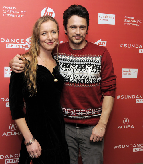 """Christina Voros, left, director of the documentary film """"kink,"""" poses with producer James Franco at the premiere of the film at the 2013 Sundance Film Festival, Saturday, Jan. 19, 2013, in Park City, Utah. (Photo by Chris Pizzello/Invision/AP)"""