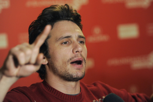 """James Franco, producer of the documentary film """"kink,"""" makes a point during an interview at the premiere of the film at the 2013 Sundance Film Festival, Saturday, Jan. 19, 2013, in Park City, Utah. (Photo by Chris Pizzello/Invision/AP)"""