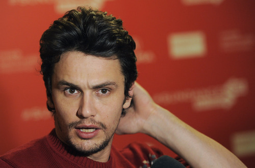 """James Franco, producer of the documentary film """"kink,"""" is interviewed at the premiere of the film at the 2013 Sundance Film Festival, Saturday, Jan. 19, 2013, in Park City, Utah. (Photo by Chris Pizzello/Invision/AP)"""