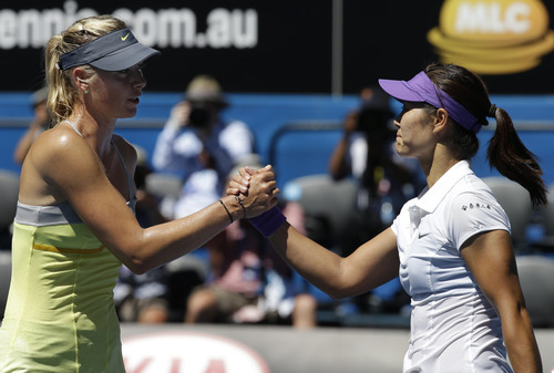 China's Li Na, right, is congratulated by Russia's Maria Sharapova after their semifinal match at the Australian Open tennis championship in Melbourne, Australia, Thursday, Jan. 24, 2013. (AP Photo/Andy Wong)