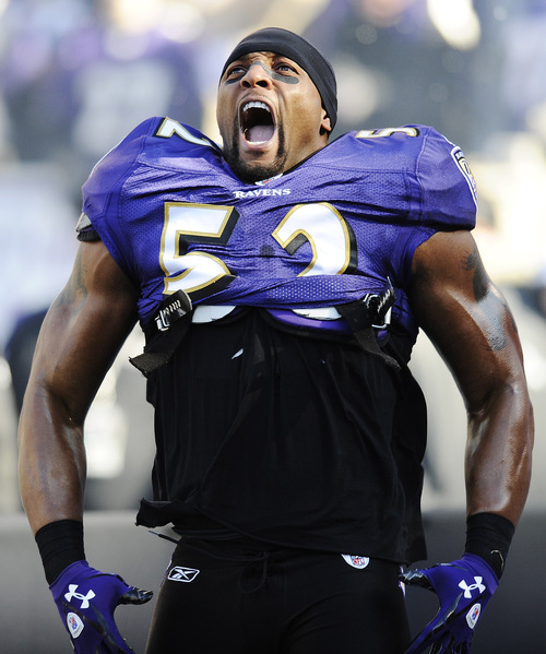 Baltimore Ravens inside linebacker Ray Lewis reacts to his introduction before an NFL divisional playoff football game against Houston Texans in Baltimore, Sunday, Jan. 15, 2012. (AP Photo/Nick Wass)