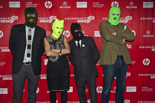 Chris Detrick  |  The Salt Lake Tribune Director Maxim Pozdorovkin, producer Xenia Grubstein, director Mike Lerner and executive producer Martin Herring pose for pictures before the premiere of 'Pussy Riot: A Punk Prayer' during the 2013 Sundance Film Festival in Park City on Friday, Jan. 18, 2013.