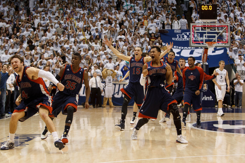 Trent Nelson  |  The Salt Lake Tribune Saint Mary's players celebrate after guard Matthew Dellavedova (4) hit a last-second shot against BYU to win the game Jan. 16 in Provo.