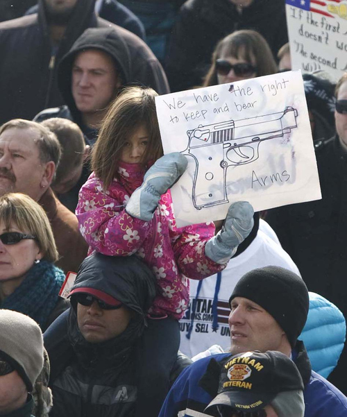 Leah Hogsten  |  The Salt Lake Tribune Pro-gun activists rallied at the Utah Capitol on Saturday, Jan. 19, 2013, to support the right to own firearms they say is under attack from President Barack Obama's proposals to reduce gun violence. The rallies, to be held mostly at state capitals, were being organized by a group called Guns Across America.