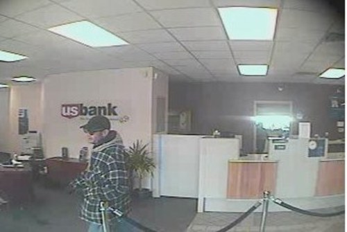 U.S. Bank security camera image of bank robber. (SLCPD photo)